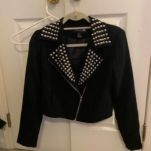 Black Polyester Studded Short Edgy Jacket